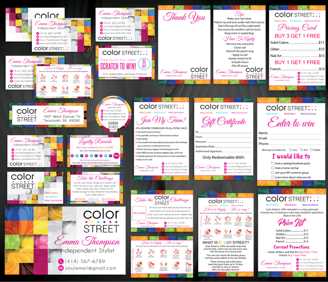 Color Street Marketing Bundle, Personalized Color Street Cards CL74