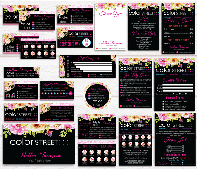 Color Street Marketing Bundle, Personalized Color Street Cards CL27