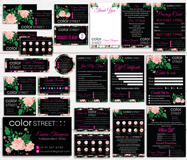 Color Street Marketing Bundle, Personalized Color Street Cards CL60 Black