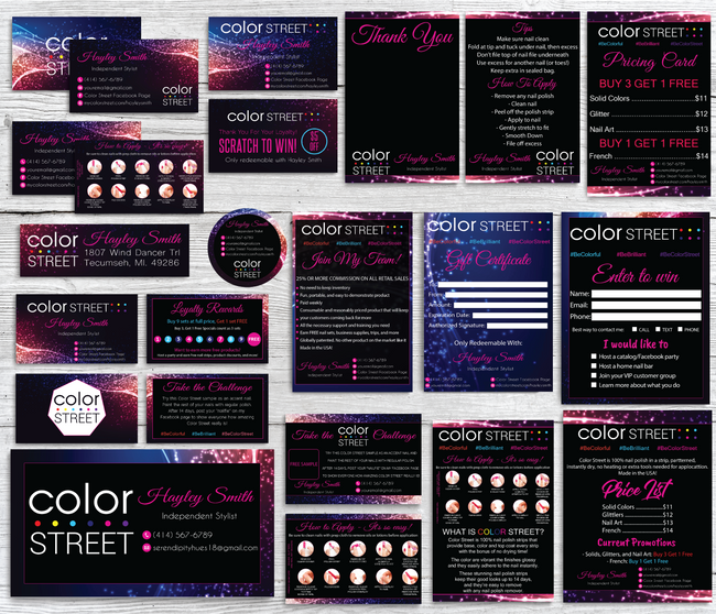 Color Street Marketing Bundle, Personalized Color Street Cards CL34