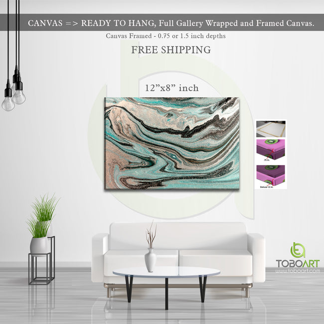 Marble Canvas Art, Abstract Marble Derco CV40 Landscape Canvas .75in Frame