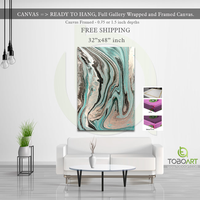 Marble Canvas Art, Abstract Marble Derco CV40 Portrait Canvas .75in Frame