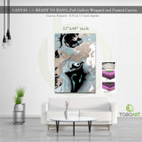 Pale Marbling Art, Marbling Canvas Wall Art CV33 Portrait Canvas .75in Frame