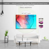 Alcohol Ink Canvas, Colorful Effect Art CV02 Landscape Canvas .75in Frame