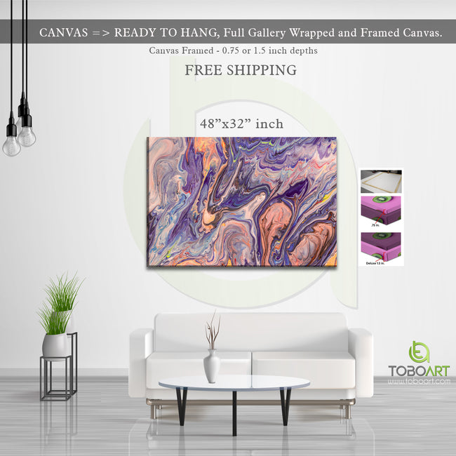 Abstract Violet Orange Canvas Wall Art CV42 Landscape Canvas .75in Frame