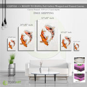 3D Canvas Koi Fish, Marble Art CV48 Portrait Canvas .75in Frame