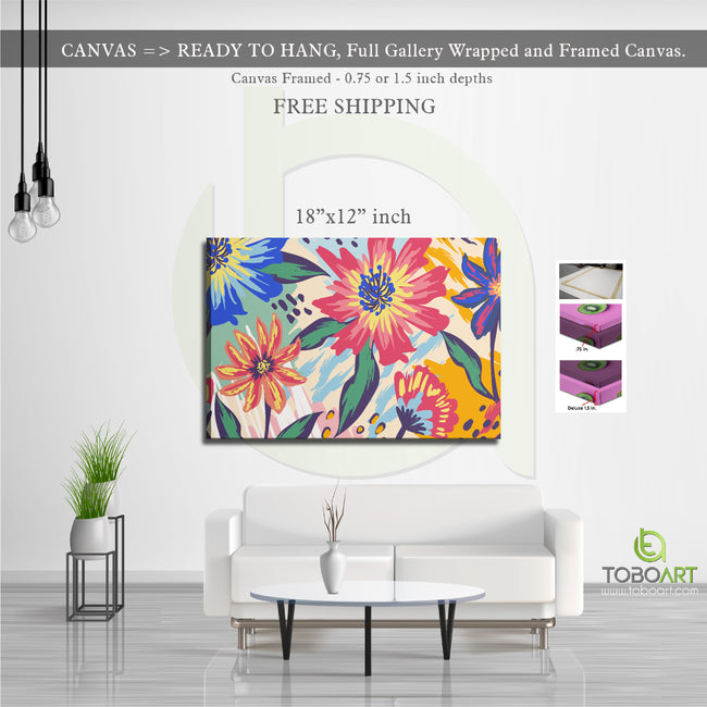 Colorful Painted Flower, Flower Wall Art CV12 Landscape Canvas .75in Frame