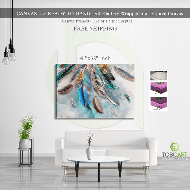 Colorful Feather Canvas, Blue Feather Decor CV56 Landscape Canvas .75in Frame