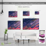 Canvas Wall Art Blue Mix Red CV03 Landscape Canvas .75in Frame