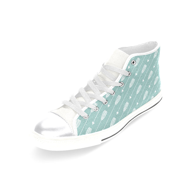 Mint Arrow Shoes, Arrow Stripe Women's Classic High Top Canvas Shoes