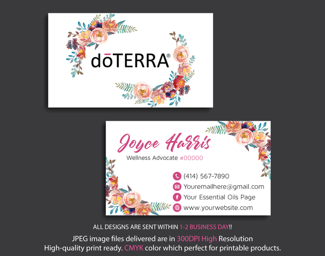 Doterra Business Cards, Personalzied Doterra Essential Oils Card DT15