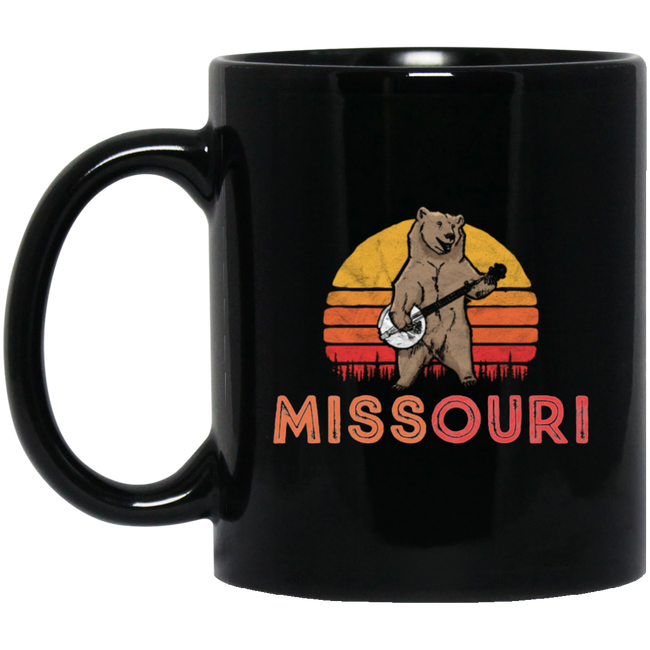 Missouri Bluegrass Banjo Bear Funny Retro Black Mug