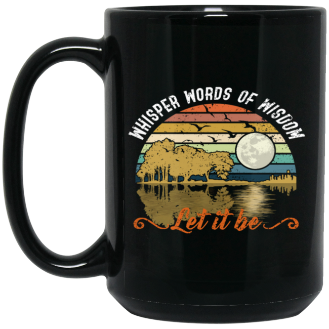 Retro Whisper Words Of Wisdom Let it Be Guitar Black Mug