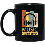 Music Is My Drug DJ Headphone Black Mug