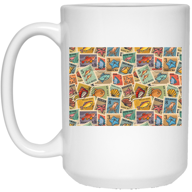 Postage Stamps, Marine Inhabitants White Mug