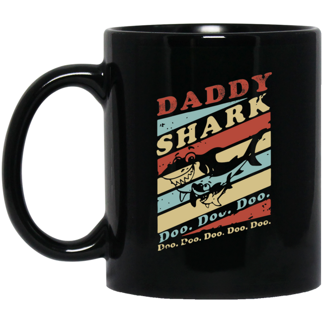 Vintage Daddy Shark Doo Doo Black Mug
