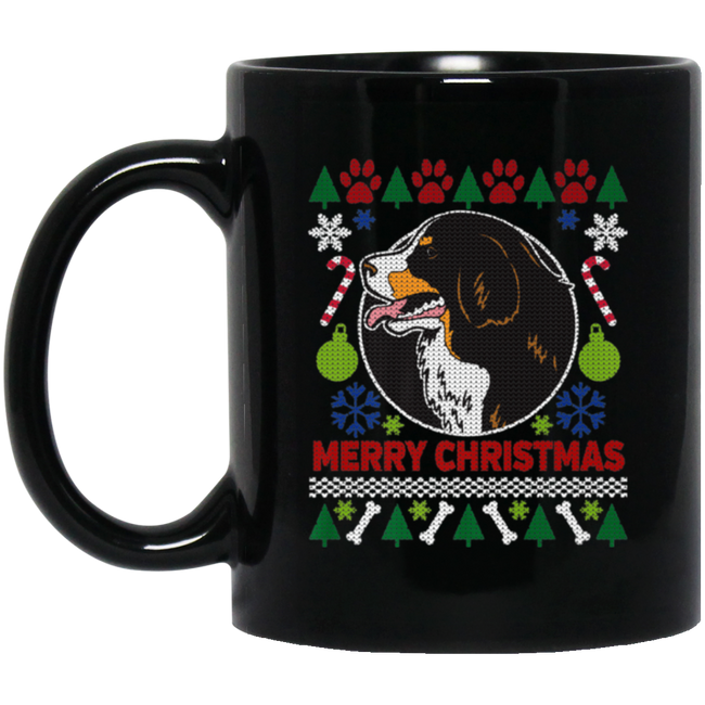 Ugly Christmas, Bernese Mountain Dog Breed Black Mug