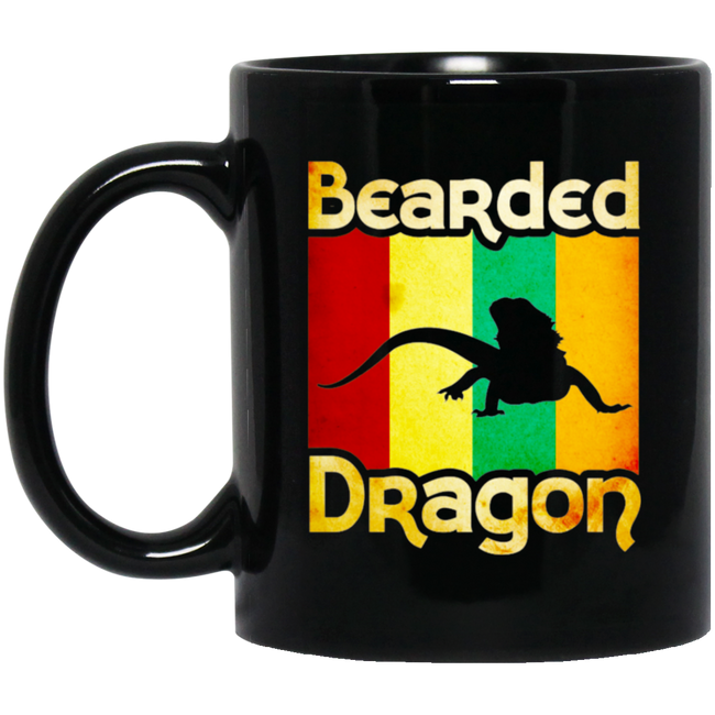 Vintage Retro Bearded Dragon Black Mug