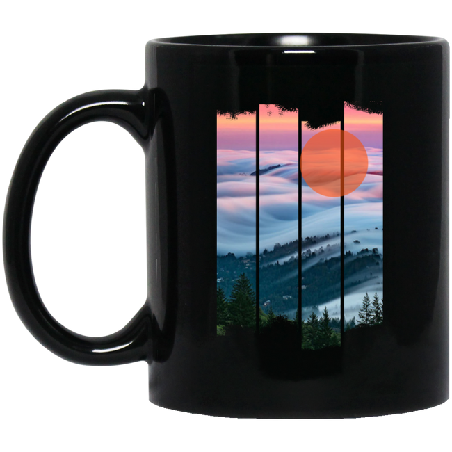 Forest Fog Nature Mystic Art Black Mug