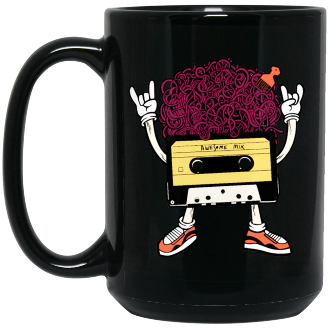 Funny Music Cassette With Cool 70's Hair And Comb Black Mug
