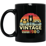 1980 Vintage Birthday Gift Black Mug