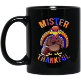 Mister Thankful, Happy Turkey Football Black Mug