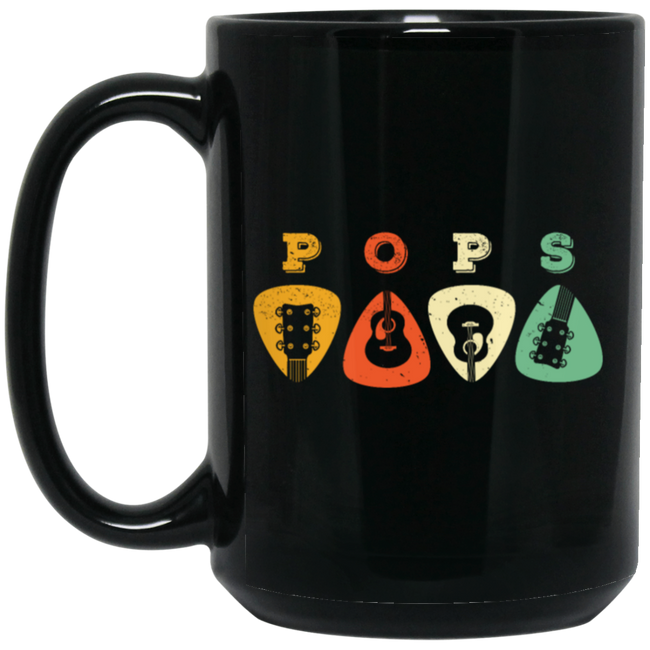 Pops Guitar, Guitar Picks, Retro Guitarist Black Mug