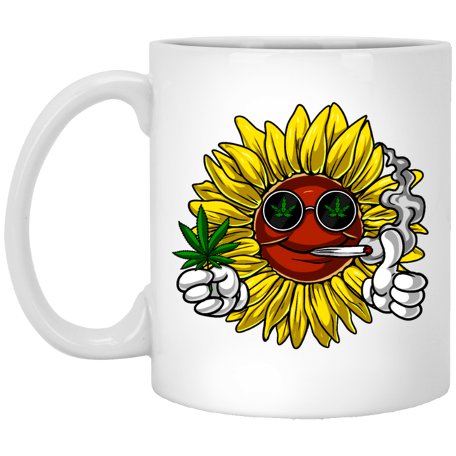 Hippie Sunflower Weed Stoner White Mug