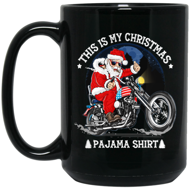This Is My Christmas Pajama Funny Black Mug