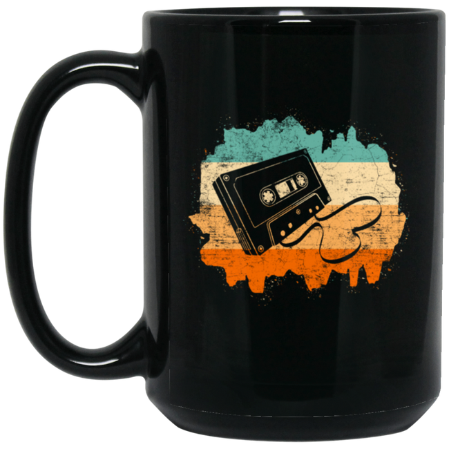 Retro Cassette Tape Recorder Music Black Mug