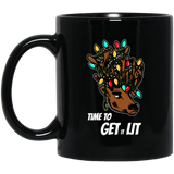 Funny Christmas Reindeer Time To Get It Lit Black Mug