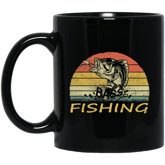 Retro Vintage Bass Fishing Black Mug