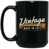 Birthday - Vintage Made In 1977 Black Mug