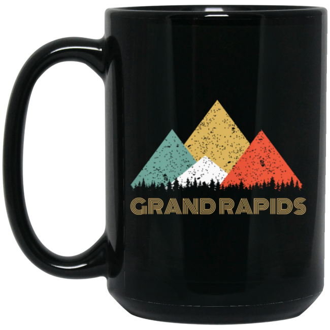 Retro City of Grand Rapids Mountain Black Mug