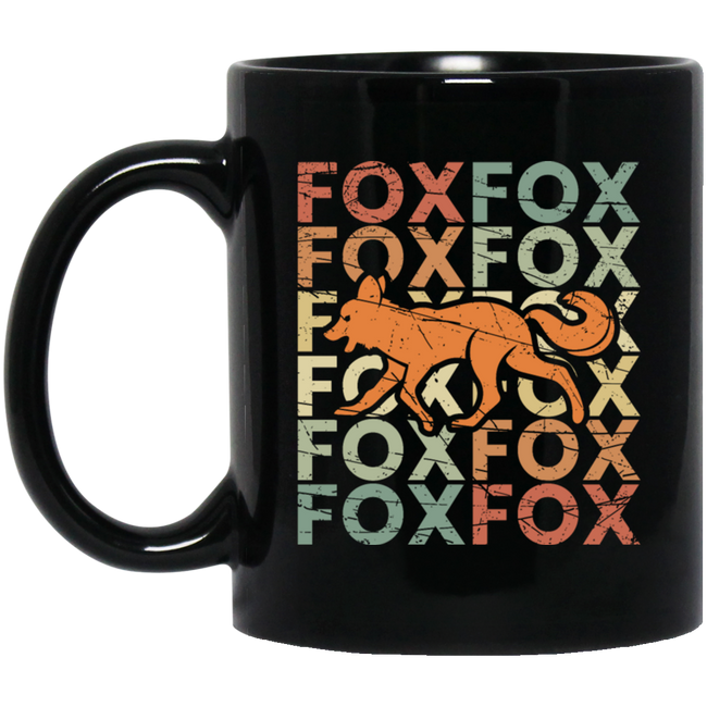 Fox Vintage Retro, Present Animal Black Mug