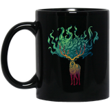 Stag with Flaming Antlers, Black Mug