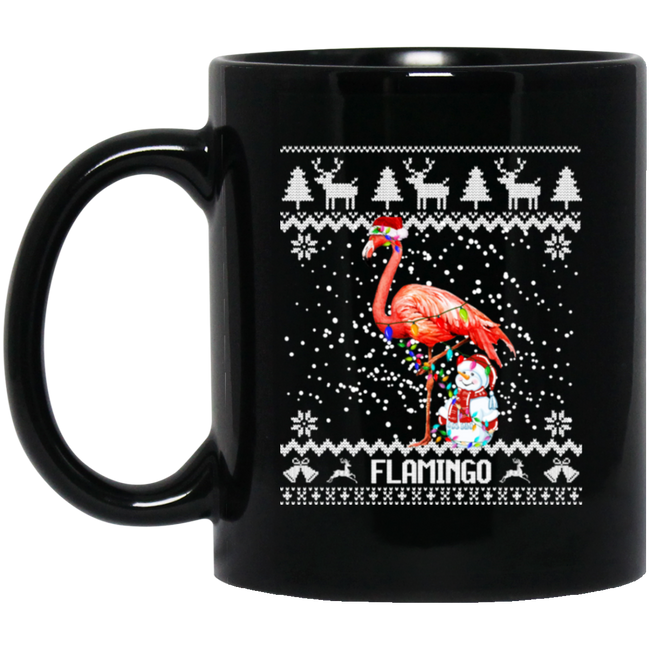 Flamingo Ugly Christmas Xmas Lights Flamingo Black Mug