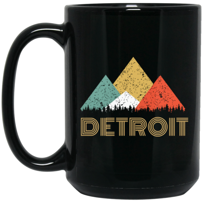 Retro City of Detroit Mountain Black Mug