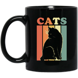 Cats Retro, Cat Lover Black Mug