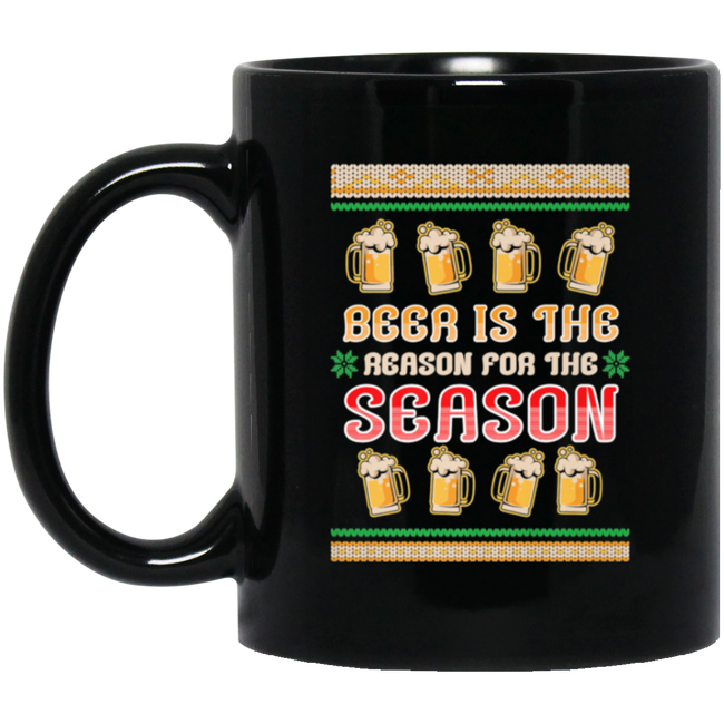 Beer Is The Reason For The Season Ugly Christmas Black Mug