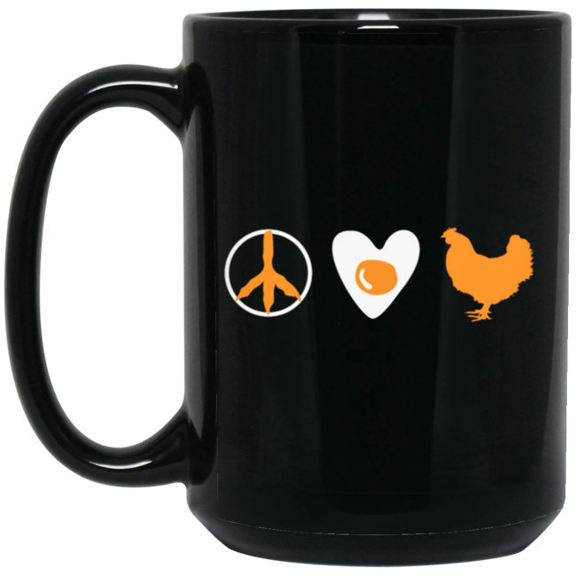 Chicken Peace Love - Free Range Love Black Mug