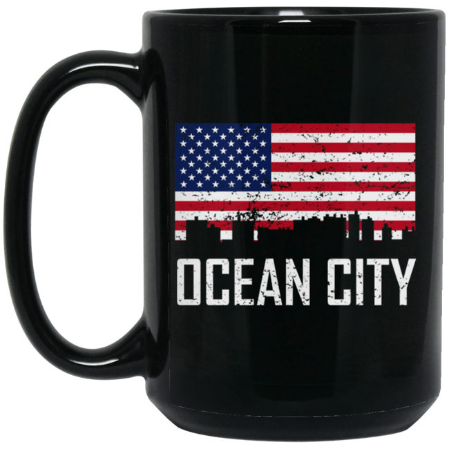 Ocean City Maryland Skyline American Flag Black Mug