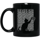 Cat Is Playing With The Binarycode Black Mug
