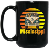 Mississippi Road Trip Shirt Vintage Retro Hippie Black Mug