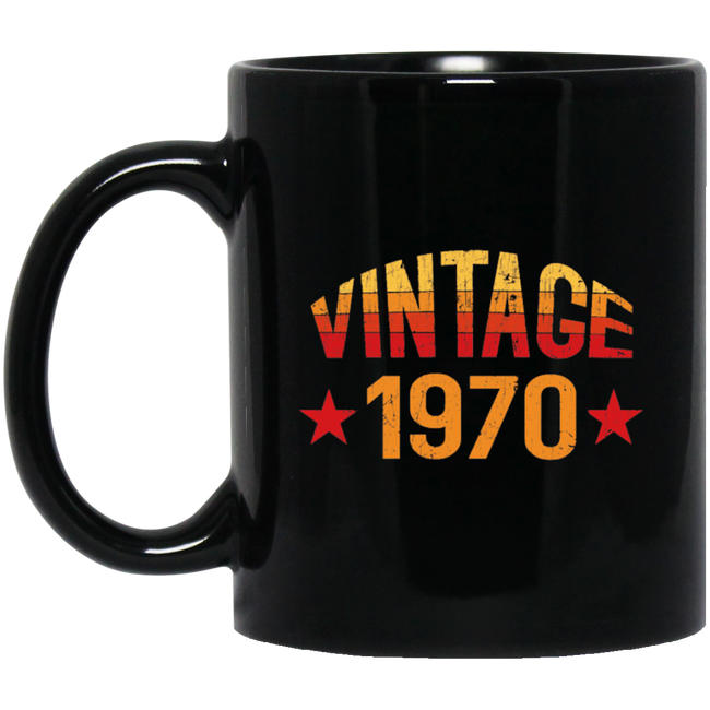 Vintage 1970, Birthday Gift Black Mug