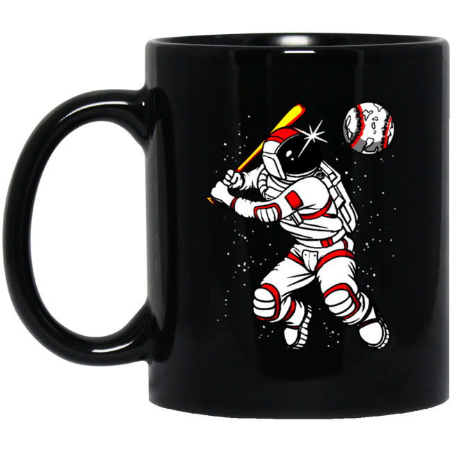Astronaut Baseball Outer Space Black Mug