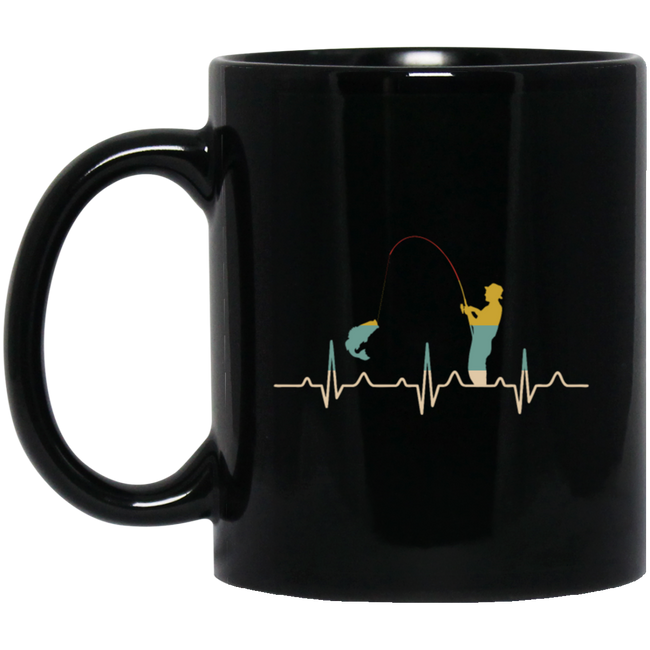 Retro Fishing Heartbeat, Fishing Gift