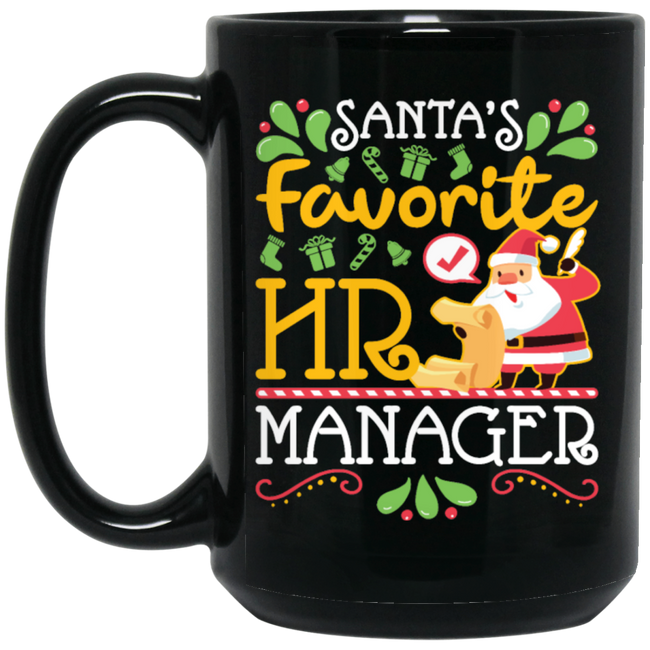 Santa's Favorite HR Manager Christmas Black Mug