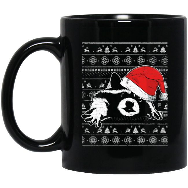 Racoon Ugly Christmas Black Mug