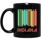 Retro Evansville Indiana Skyline Black Mug
